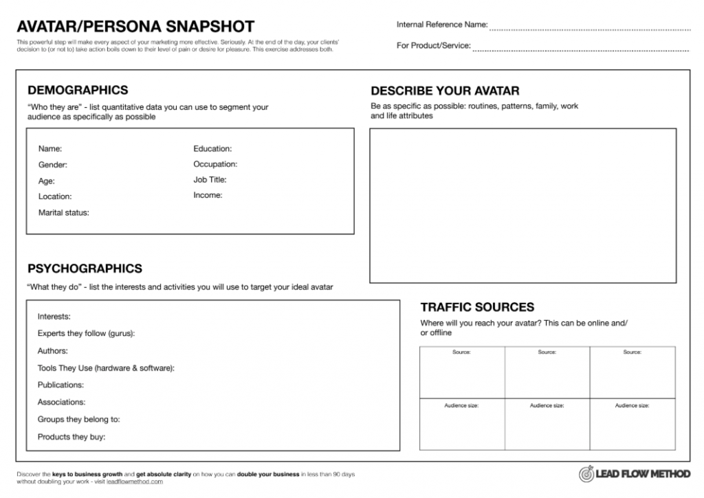 Avatar Snapshot Framework & Worksheet - Lead Flow Method