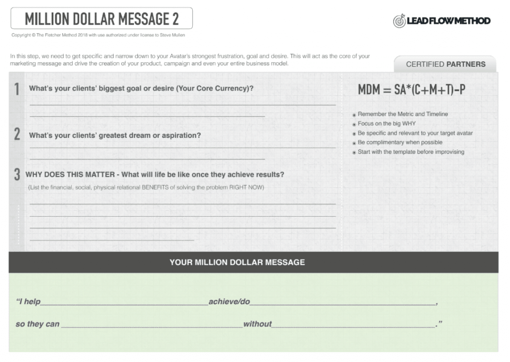 Million Dollar Message - Lead Flow Method